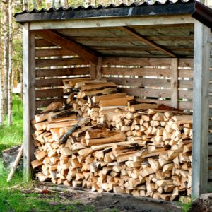 Wooden shed with Firewood in it