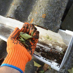 hand holding debri from gutter 400